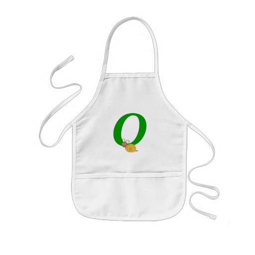 Monogram letter O brian the snail kids apron