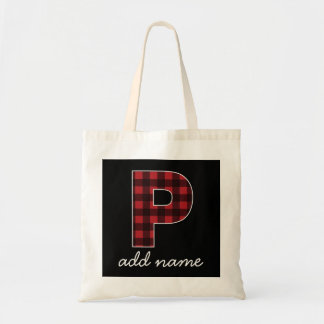 Monogram Letter P - Black and Red Buffalo Plaid Tote Bag