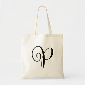 "Monogram Letter ""P"" Budget Tote-Canvas Tote Bag"