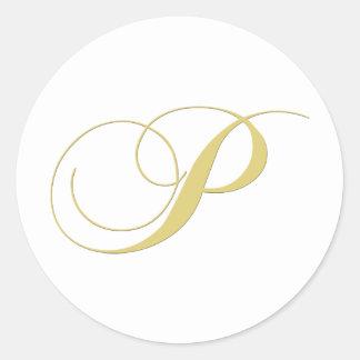 Monogram Letter P Golden Single Round Sticker