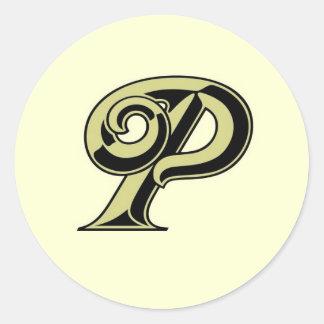 Monogram Letter P Round Sticker