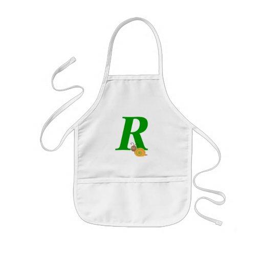 Monogram letter R brian the snail kids apron