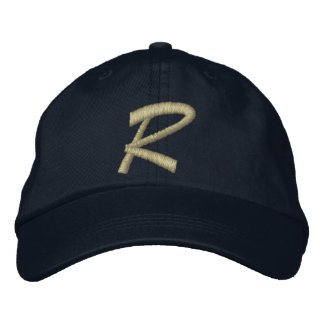 Monogram Letter R Embroidered Embroidered Hats