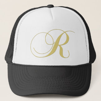 Monogram Letter R Golden Single Trucker Hat