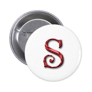Monogram Letter S 6 Cm Round Badge