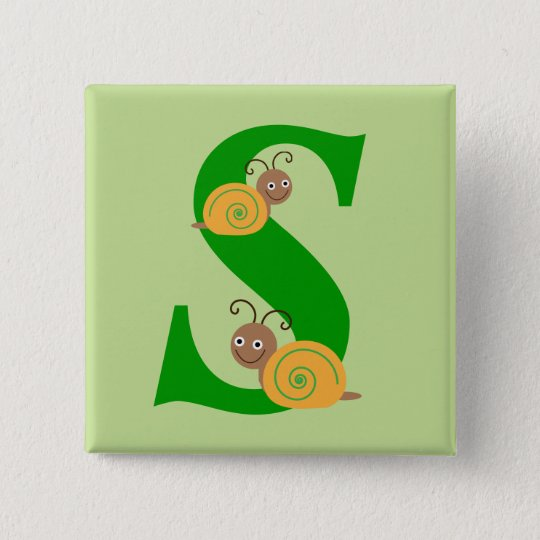 Monogram letter S brian the snail kids button,