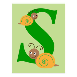 Monogram letter S brian the snail kids postcard