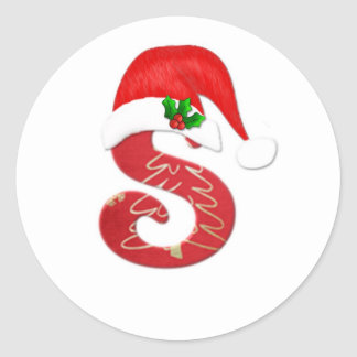 Monogram letter S, Santa hat Christmas Classic Round Sticker