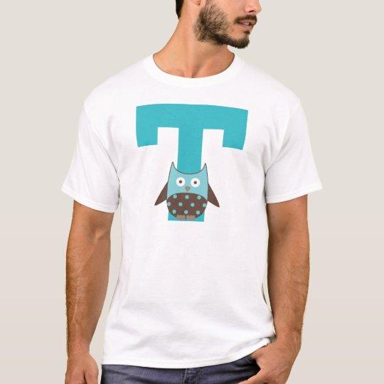 Monogram Letter T Alphabet Owl T-Shirt