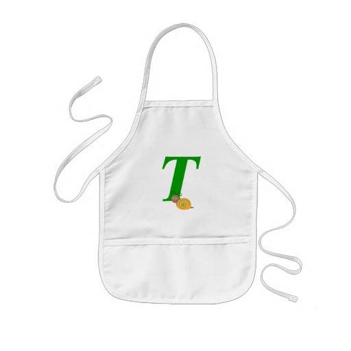 Monogram letter T brian the snail kids apron