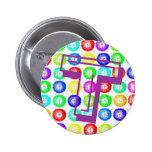 Monogram Letter T Multicolor Dandelions Button