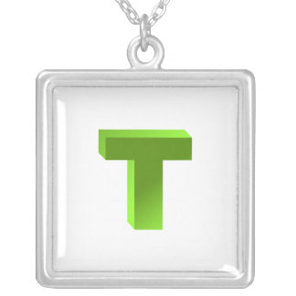 Monogram Letter T Silver Plated Necklace