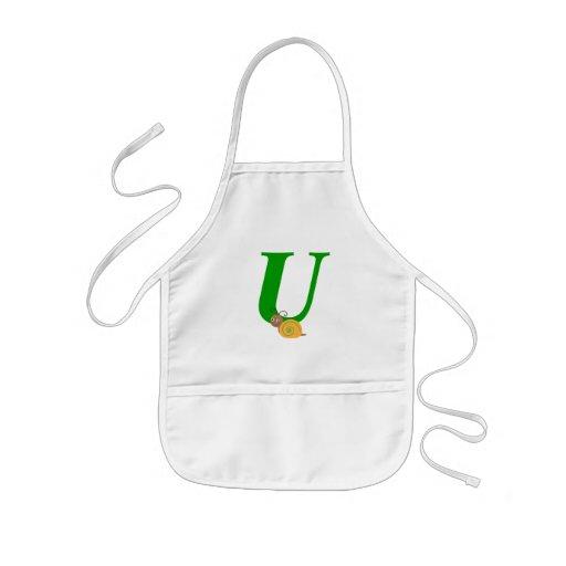 Monogram letter U brian the snail kids apron