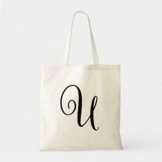 "Monogram Letter ""U"" Budget Tote-Canvas Tote Bag"
