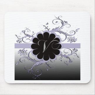 Monogram Letter V Violet Mouse Mat