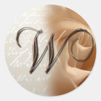 Monogram Letter W  Wedding Envelope Sticker