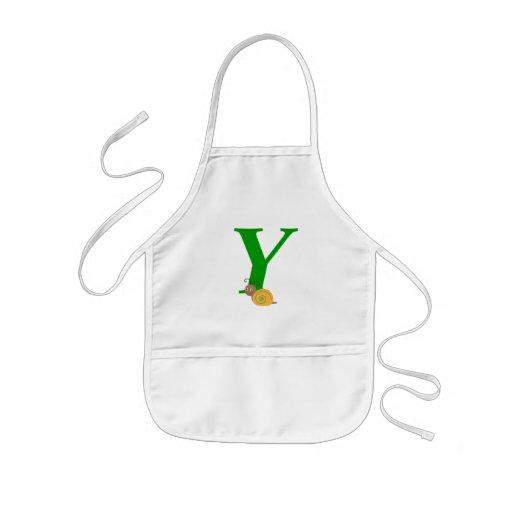 Monogram letter Y brian the snail kids apron
