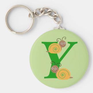 Monogram letter Y brian the snail kids keychain