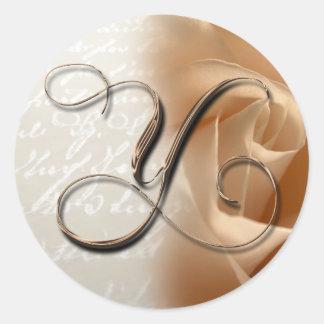 Monogram Letter Y Wedding Envelope Seal Round Sticker