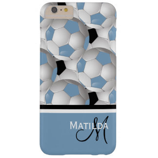 Monogram Light Blue Black Soccer Ball Pattern Barely There iPhone 6 Plus Case