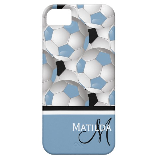 Monogram Light Blue Black Soccer Ball Pattern iPhone 5 Cover