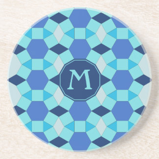 Monogram light dark blue pattern coaster