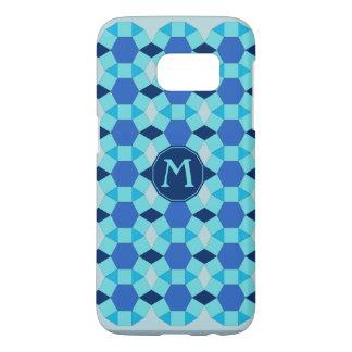 Monogram light dark blue tiles
