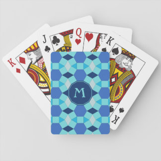 Monogram light dark blue tiles playing cards