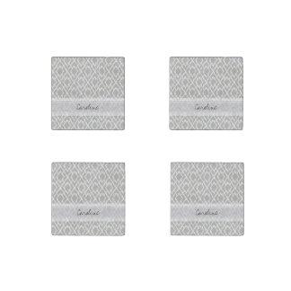 Monogram Light Gray Tribal Ikat Diamond Pattern Stone Magnet