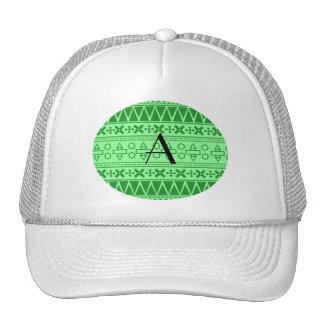 Monogram light green aztec pattern hat