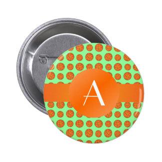 Monogram light green basketballs 6 cm round badge