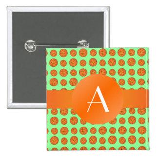 Monogram light green basketballs 15 cm square badge