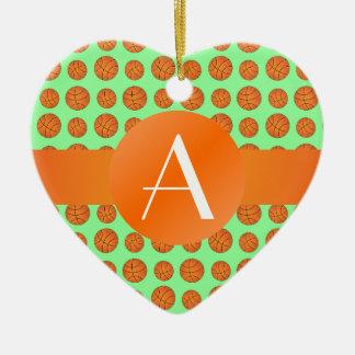 Monogram light green basketballs christmas ornament
