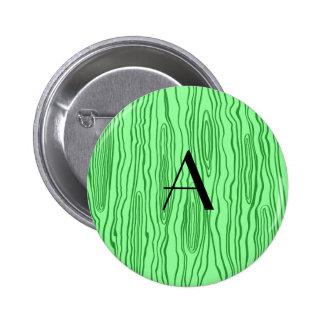 Monogram light green faux bois 6 cm round badge