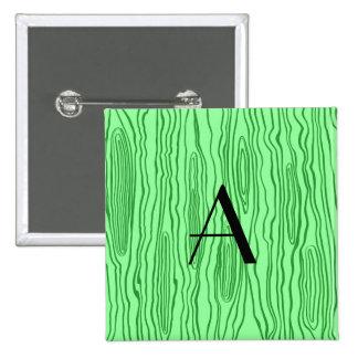 Monogram light green faux bois 15 cm square badge