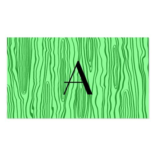 Monogram light green faux bois business card template