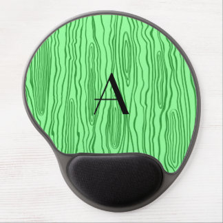 Monogram light green faux bois gel mouse pad