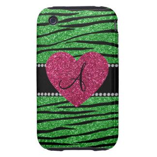 Monogram light green glitter zebra stripes heart iPhone 3 tough cases