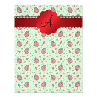 Monogram light green ladybugs hearts 21.5 cm x 28 cm flyer