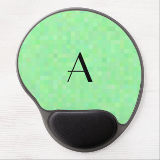 Monogram light green mosaic squares gel mouse pad