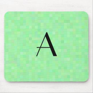 Monogram light green mosaic squares mouse pad