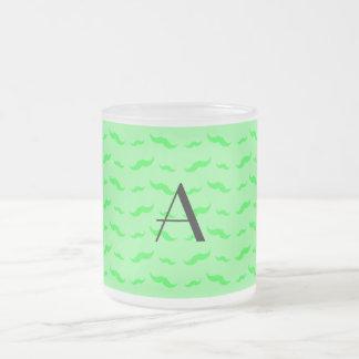 Monogram light green mustache pattern coffee mugs