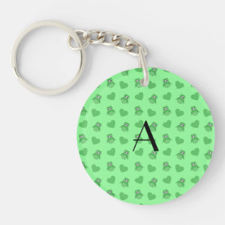 Monogram light green owls and hearts acrylic keychains