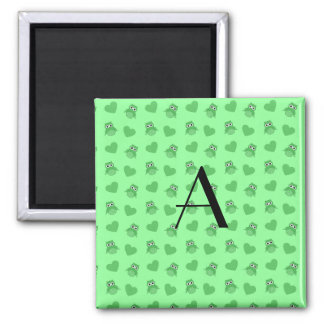 Monogram light green owls and hearts fridge magnets