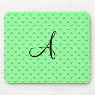 Monogram light green pearl polka dots mouse pad