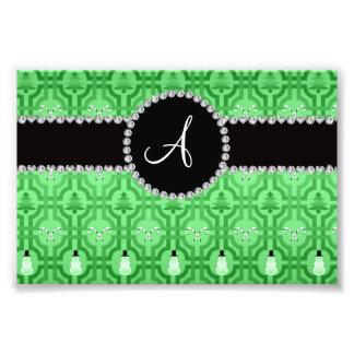 Monogram light green snowman trellis pattern photo