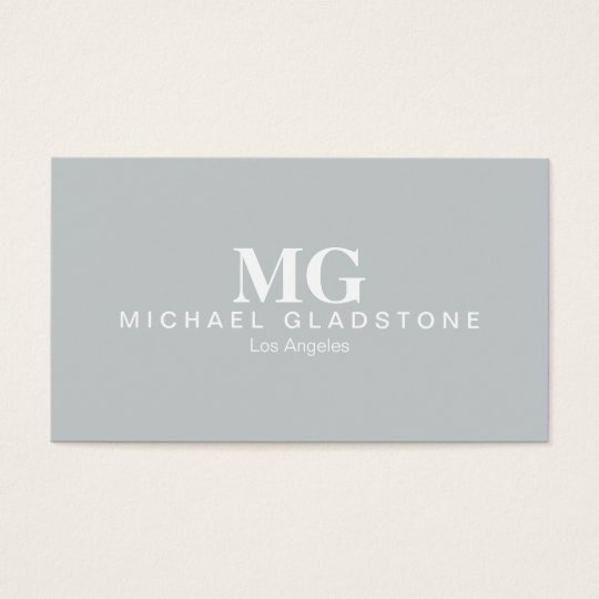 Monogram Light Grey Background Business Card