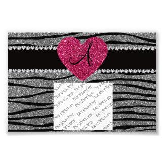 Monogram light grey glitter zebra stripes heart art photo
