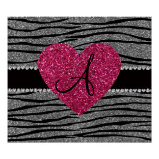 Monogram light grey glitter zebra stripes heart print