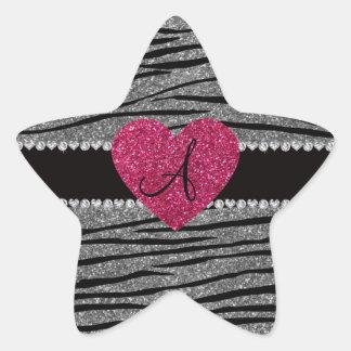 Monogram light grey glitter zebra stripes heart star sticker